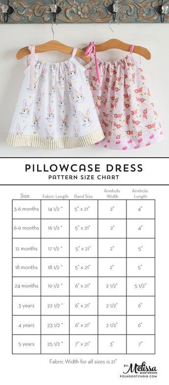 Pillowcase Dress Pattern and Size Chart | Polka Dot Chair