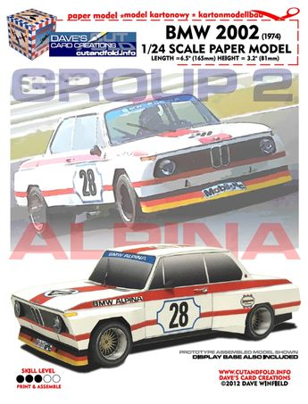 1974 BMW Alpina 2002 Group 2 racecar...1/24 scale paper model...available at www.papermodelshop.com...Price $5.00