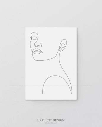 Printable Face Contour Drawing Sketch Art, Woman In One Single Line, Black and White Female Poster, Minimalist Beauty Illustration Print