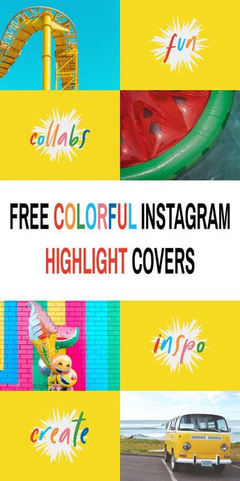 Free Bright Yellow and Rainbow Instagram Story Highlight Cover Icons - Cherbear Creative
