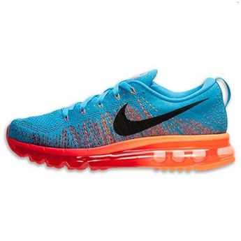 d6905349edf2 Nike Flyknit Air Max Mens Shoes Blue Black Orange Outlet Store