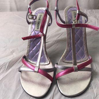 f0c56662a36 Steve Madden Trinity Metallic Pink Open Toe Strappy Stilettos Heels 7 1 2 B