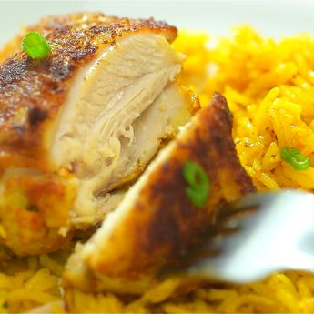 If you are looking for a quick and easy chicken and rice dinner, you've got to try this amazing One Skillet Chicken and Yellow Rice! Treat your family and friends with this elegant and tasty meal! #chicken #dinner #easyrecipe #recipeoftheday #rice