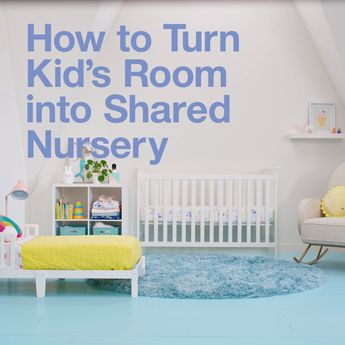 Create a shared nursery for Baby and big sister or brother with smart storage and furniture, cozy bedding and sweet decor.