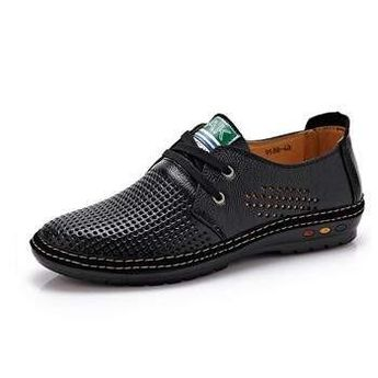 Genuine Leather Men casual shoes Summer  Breathable Soft Driving Men's Handmade