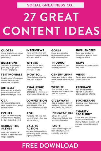 Struggling to come up with an idea of what to post on your blog or social media? Our FREE Content Guide gives you 27 ideas for what to post when you&#