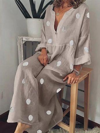 Bohemian Solid Color Polka Dot Print Dress
