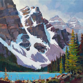 "'Moraine Lake Patterns' 16"" x 16"" acrylic on Canvas by artist Randy Hayashi"