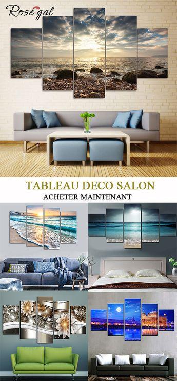 Tableau peinture Tableau Salon Peintures sur Toiles Séparées #Rosegal #décorationmaison #moderne #paysage #huile #deco #mer #mur