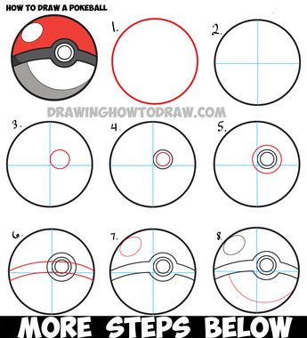 How to Draw a Pokeball from Pokemon - Easy Step by Step Drawing Tutorial