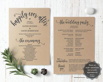 wedding program pdf card template instant download editabl