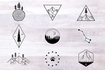 Nature Tattoo Designs nature tattoo outdoors hiking camping travel vintage rustic environment explore illustration mountains trees stars constellation wood forest bear logos emblems simple minimal moon stipple line