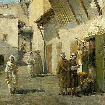 Algérie - Peintre Français Numa Marzocchi de Belluci (1846 - 1930),Huile sur toile ,Titre : Rue d'alger