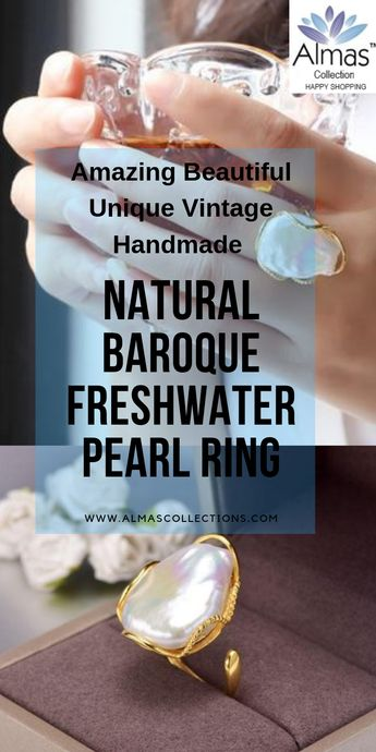 New Vintage Unique Natural Baroque Irregular Pearl 925 Silver Ring IS1 IS2 VAL NS3