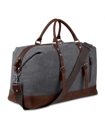 a4394484f1e Canvas Overnight Bag Travel Duffel Genuine Leather for Men and Women  Weekender Tote - Grey -