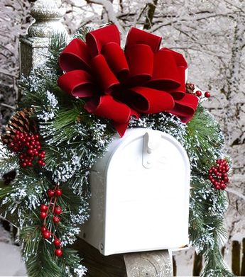 Snow Flocked Holiday Mailbox Swag with Red Velvet Ribbon - Christmas Mailbox Cover. Holiday Decor. Christmas Mailbox Swag