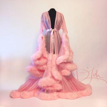 """""""Cassandra"""" Pink Marabou Dressing Gown"""