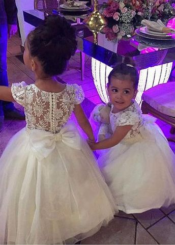 [75.29] Cute Tulle & Lace Jewel Neckline Ball Gown Flower Girl Dresses With Veadings & Bowknot - magbridal.com.cn