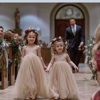 Dusty Rose Flower Girl Dress Lace Tulle Dresses For Baby Girls Blush Princess Tutu 1st First Birthday Photoshoot Shower Pageant Taupe Gown