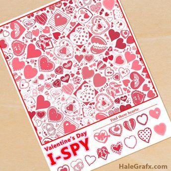 FREE Printable Valentine's Day I-Spy Sheet #valentinesdayprintables #freeprintables #printables #valentinedayactivities