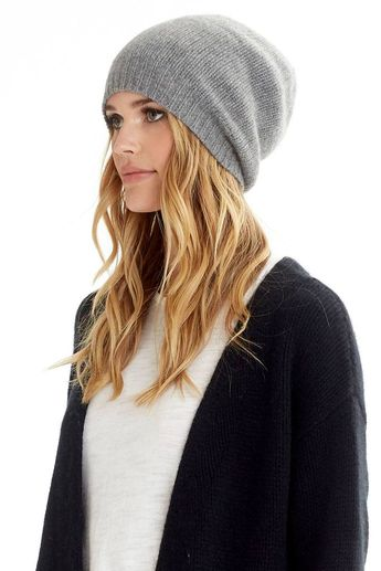 6084136bc34 Gray Cable Knit Beanie Slouchy Knit Hat Chunky Hipster by C