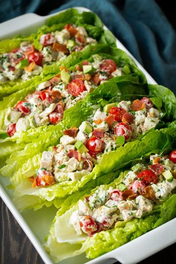BLTA Chicken Salad Lettuce Wraps