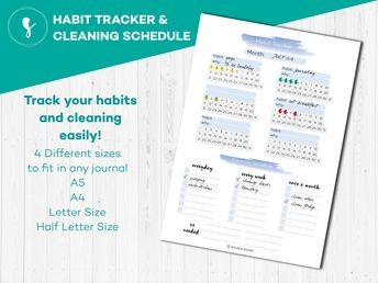 Printable Monthly Habit Tracker, Printable A5 Filofax Inserts, Bullet Journal Daily Habit Tracker, Instant Download PDF