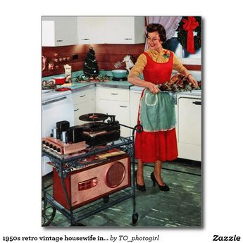 1950s retro vintage housewife in kitchen & turkey postcard | Zazzle.com
