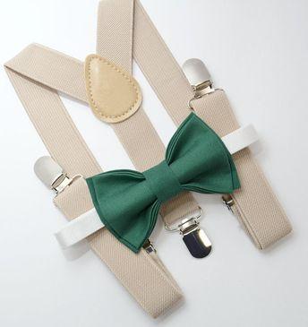f44427d1187 Bow Tie   Suspenders SET   Juniper Green Bow Tie   Light Tan Suspenders    Kids