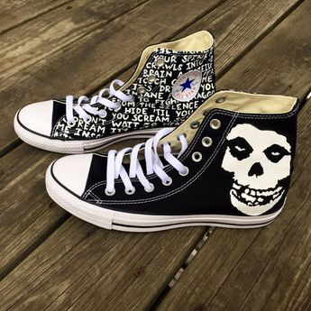 c7e6382b589a Custom Hand-Painted Misfits Converse Shoes by EtsyByVeasey on Etsy