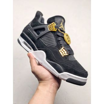 f1698034257 8544j-405500 Air Jordan 4 Royalty Black Gold Boots Shoe Body Made From Black  Suede