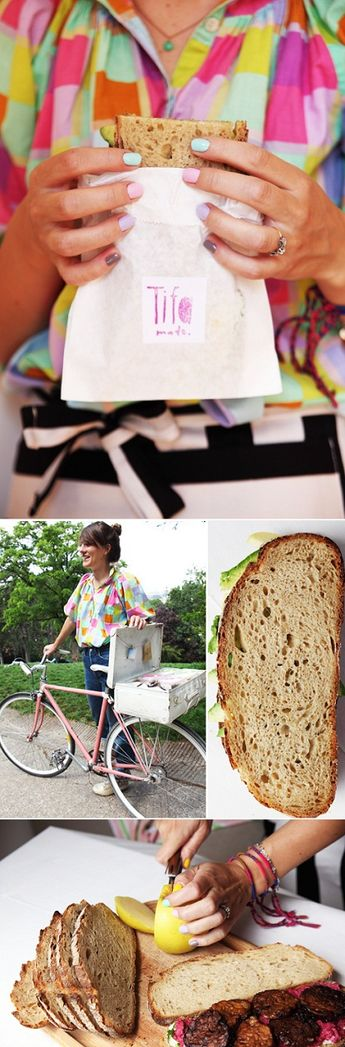A lady who is a sandwich traveller, taking homemade food via bike around Paris and selling it! Beautiful.