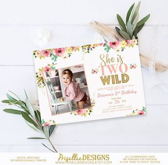 Two Wild Birthday Invitation 2nd Girl Boho Floral