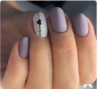 Purple hearteat mattee nails