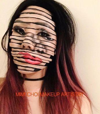 Halloween Makeup Costume Ideas, distorted face  #makeup #halloween #halloweenmakeup #costume #diycostume #facemakeup #fall #halloweencostume #diyhalloweencostume #affiliate