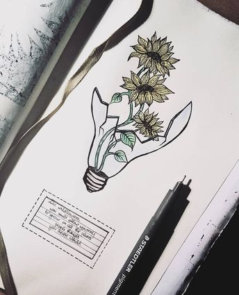 """Like wildflowers you must allow yourself to grow in all the places people never thought you would."" . . //Broken isn't bad . . #drawing #flower #flowers #quote #lightbulb #sketchbook #drawings #yellow #yellowish #art #artistic #artistic_pub"