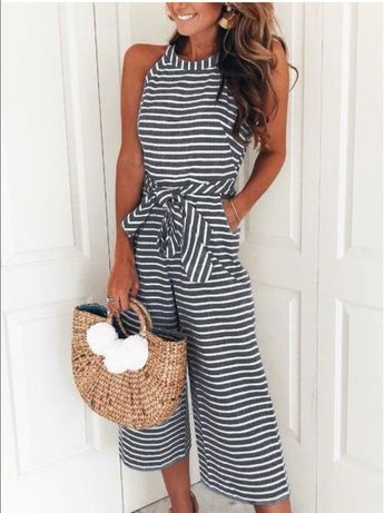 5f25c39910d4 Sleeveless Bow Tie Wide Leg Loose Striped Jumpsuit
