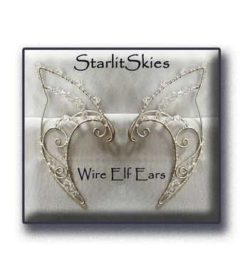 Wire Elf Ears Crafted In Sterling Silver Filled With Clear Swarovski Crystals