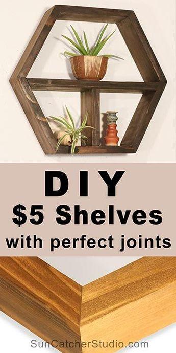 DIY Woodworking project: Wood (Honeycomb) Hexagon Shelves