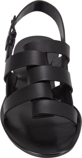 Jil Sander Foldoverstrap Slingback Sandals in Black lyst.com