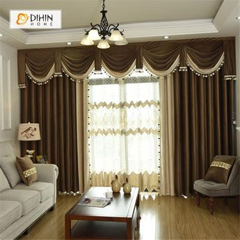 DIHIN HOME Brown and Grey Valance ,Blackout Curtains Grommet Window Curtain for Living Room ,52x84-inch,1 Panel