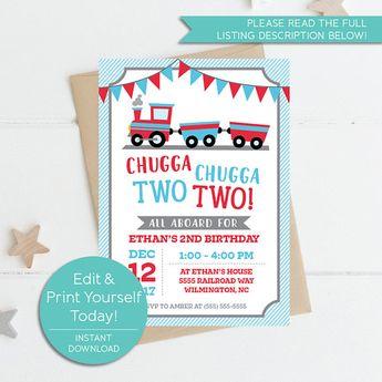 Chugga Two Train Invitation Instant Download Printable 2nd Birthday