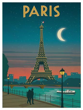 Vintage Paris Moonlight Poster