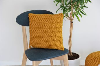 Mustard Cushion cover 16x16 inches crochet pillow case Square Unique pattern cover home decoration Slipcover