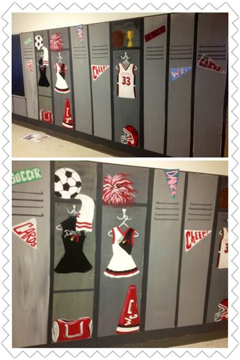 I painted this wall to look like sports lockers for an elementary school:-) very long wall, had to take several pics to get it all!