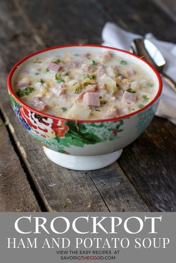 There is nothing more comforting that a warm bowl of ham and potato soup on a cold winter day. This cheesy crockpot ham and potato soup uses up leftover ham, potatoes, corn and peas. Set your crockpot in the morning and come home to delicious soup your wh