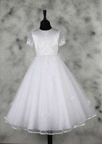 964deb3bcd First Holy Communion Dress - White Traditional Full Length with Illusion  Princess Sleeves - Harriet -