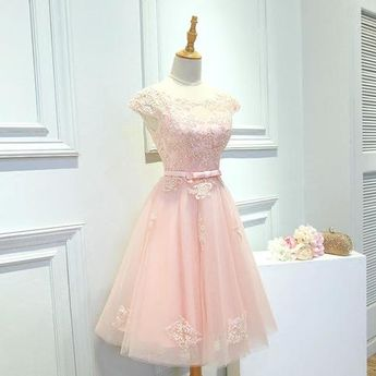Pink Homecoming Prom Dress Cute Short Homecoming Dresses With A-line/Princess Lace Up Bandage Dresses