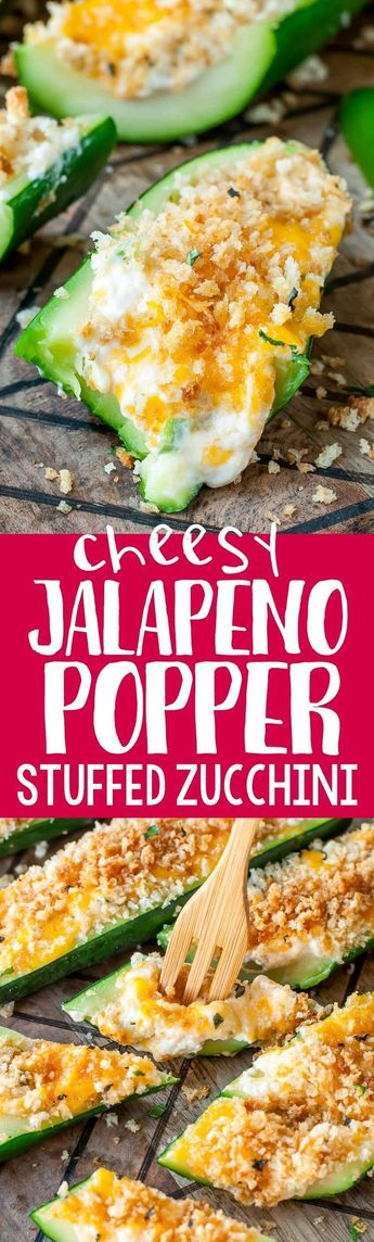 Cheesy Jalapeño Popper Stuffed Zucchini Boats