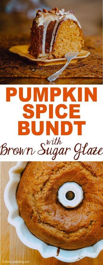 Pumpkin Spice Bundt Cake with Brown Sugar Glaze! Get the recipe on MomLovesBaking.com. #pumpkin #pumpkinspice #cake #bundtcake